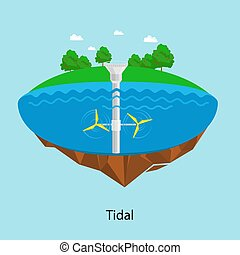 Tidal turbines power plant and factory. Green aqua energy industrial concept vector Illustration in flat style. Water electricity station icon Renewable energy sources.