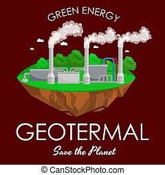 alternative energy power industry, geotermal power station...