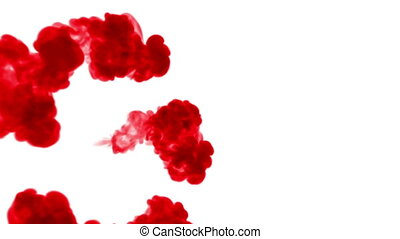Overhead shot. Red water move in slow motion. Use for inky background or backdrop with smoke or ink effects, alpha channel is on use for it luma matte like alpha mask.