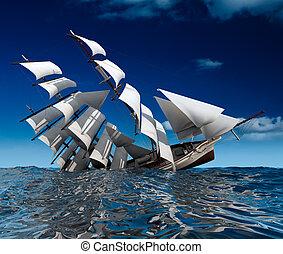 Sailing ship sinking - Beautiful sailing ship sinks in the...