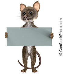 Mouse with a blank board on white