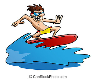 surfing on isolated white - illustration of a man do funky...