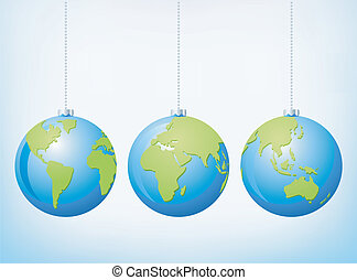 Christmas globe ornaments - Vector Christmas globe balls...