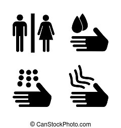 A man and a lady toilet sign. Safe hand washing