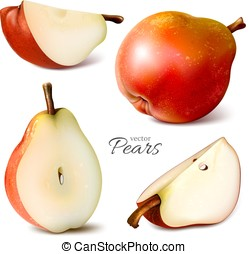 pears whole and slices - Collection of pears whole and...