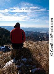 Tourist on mountain - Tourists on mountain top