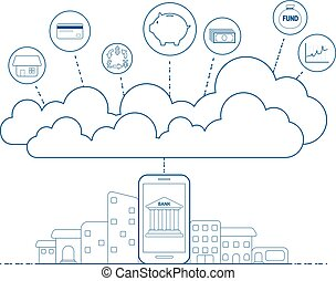 Mobile banking concept with cloud technology