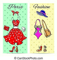 Paris fashion clothes cards for ladies boutique vector...