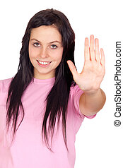 Brunette girl saying stop isolated on a over white...