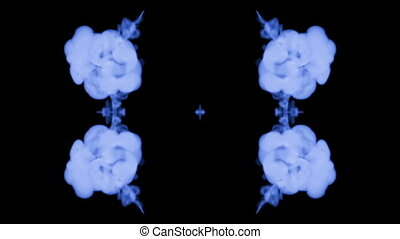 Ink kaleidoscope is abstract ink background like Rorschach inkblot test6. Blue ink or smoke isolated on black in slow motion. Pigment dissolves in water. For alpha channel use luma matte as alpha mask