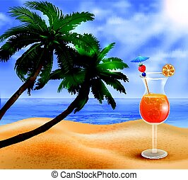 Exotic coconut cocktail - Exotic cocktail on a beach...
