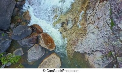 Flycam Shows Mountain River with Waterfalls Cascades -...