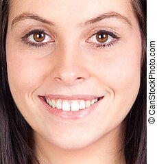 brunette girl with brown eyes - Close portrait of brunette...
