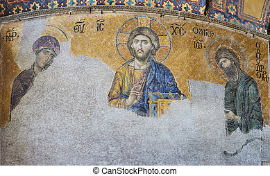 13th century Deesis Mosaic of Jesus Christ flanked by the...