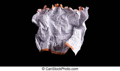 Crumpled white sheet of paper - Stop motion animation:...