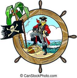 Vector Pirate in Ships Steering Wheel Design - Vector...