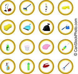 Cleaning cartoon icon circle
