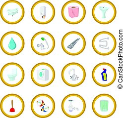 Sanitary engineering cartoon icon circle