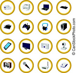 Technology and devices cartoon icon circle cartoon isolated...
