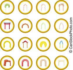 Arch icon circle cartoon isolated vector illustration