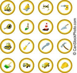 Construction cartoon icon circle cartoon isolated vector...