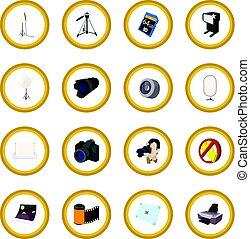 Photography set icon circle cartoon isolated vector...