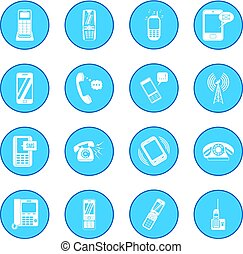 Phone icon blue - Phone simple icon blue isolated vector...