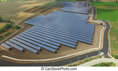 Solar cell farm - Aerial view of Solar cell farm