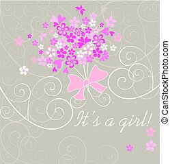 Baby girl arrival announcement card with pink bouquet