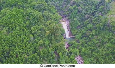Drone Shows Mountain River among Jungle in Highland - drone...
