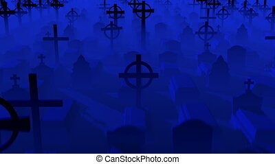 Flight over a cemetery - Render of flight over a cemetery in...