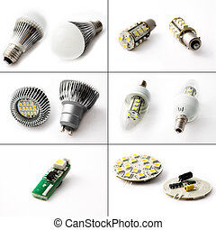 LED Technology - Six close-ups of LED light bulbs and LED...