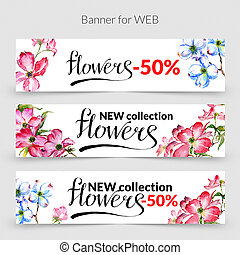 Wildflower dogwood promo sale banner template in a...