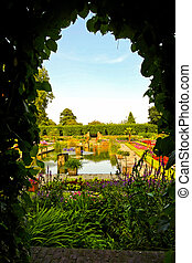 Secret garden - Secret passage in royal park with view to...