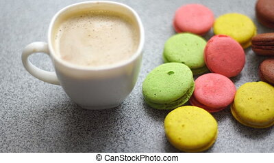 coffee and cookies macaroon on a table