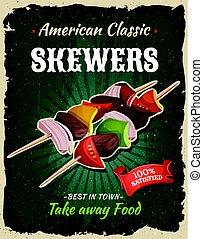 Retro Fast Food Skewers Poster