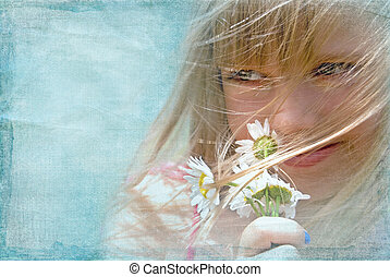 Summer Wind - Young girl with daisy bouquet on a windy day.
