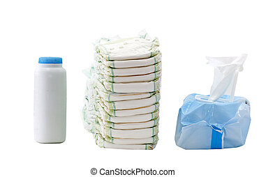 diapers, wipes, powder - container of baby powder, stack of...
