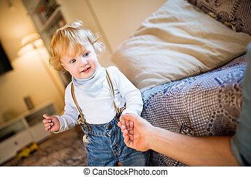 pequeno, seu, pai, mão,  unrecognizable, segurando, filho