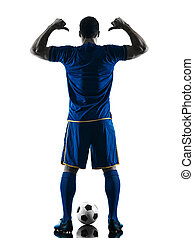 soccer player man standing back  silhouette isolated