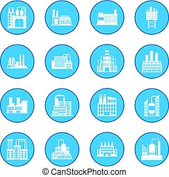Industrial building factory icon blue