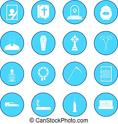 Funeral and burial icon blue - Funeral and burial simple...