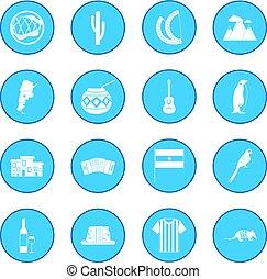 Argentina set icon blue isolated vector illustration