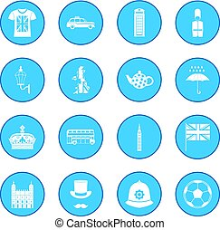 Great Britain icon blue isolated vector illustration
