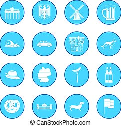 Germany black icon blue - Germany simple icon blue isolated...