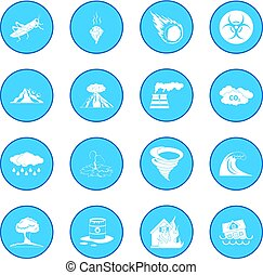 Natural disaster icon blue isolated vector illustration