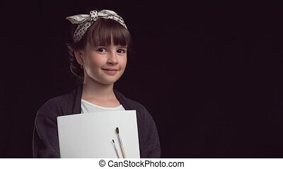 Portrait of Artist Girl - Portrait of young artist painter...