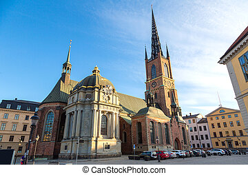 Church Riddarholmen in Stockholm in a sunny day, Sweden
