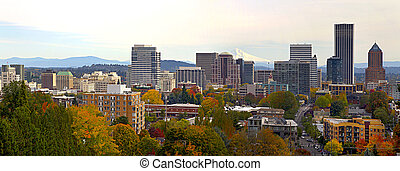 Portland Downtown Cityscape in the Fall Panorama - Portland...