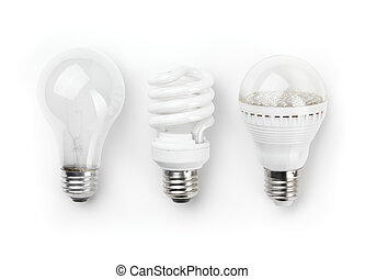LED Fluorescent and Incandescent Light Bulbs - Three...